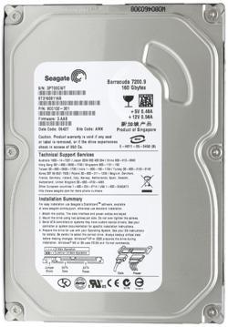 Жесткий диск SATA 3.5', 160 GB,Seagate,ST3160815AS,Barracuda 7200, 2MB,7200rpm, 3,5'